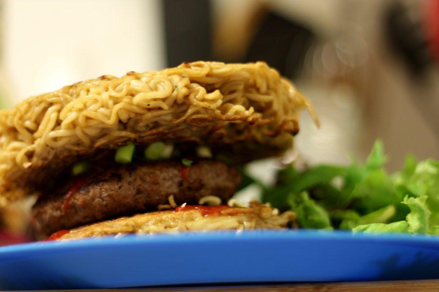 A ramen burger on a plate