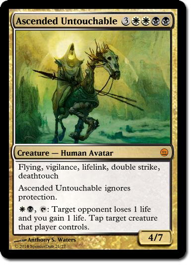 """A mockup of a Magic card called """"Ascended Untouchable"""". It has five keyword abilities, plus two additional non-keyword abilities."""