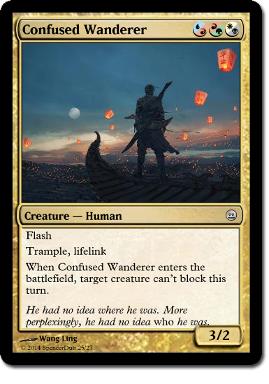 """A mockup of a Magic card called """"Confused Wanderer"""", which has three different hybrid mana symbols in its casting cost."""