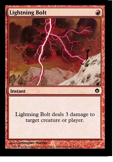 "A mockup of the Magic card ""Lightning Bolt""."