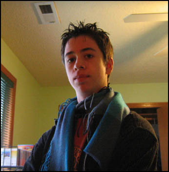 13-year-old Spencer wearing a scarf