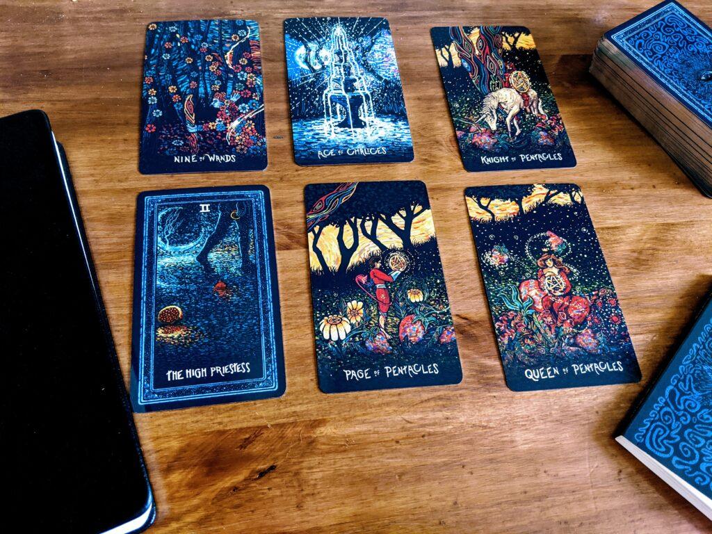 Six tarot cards in a spread