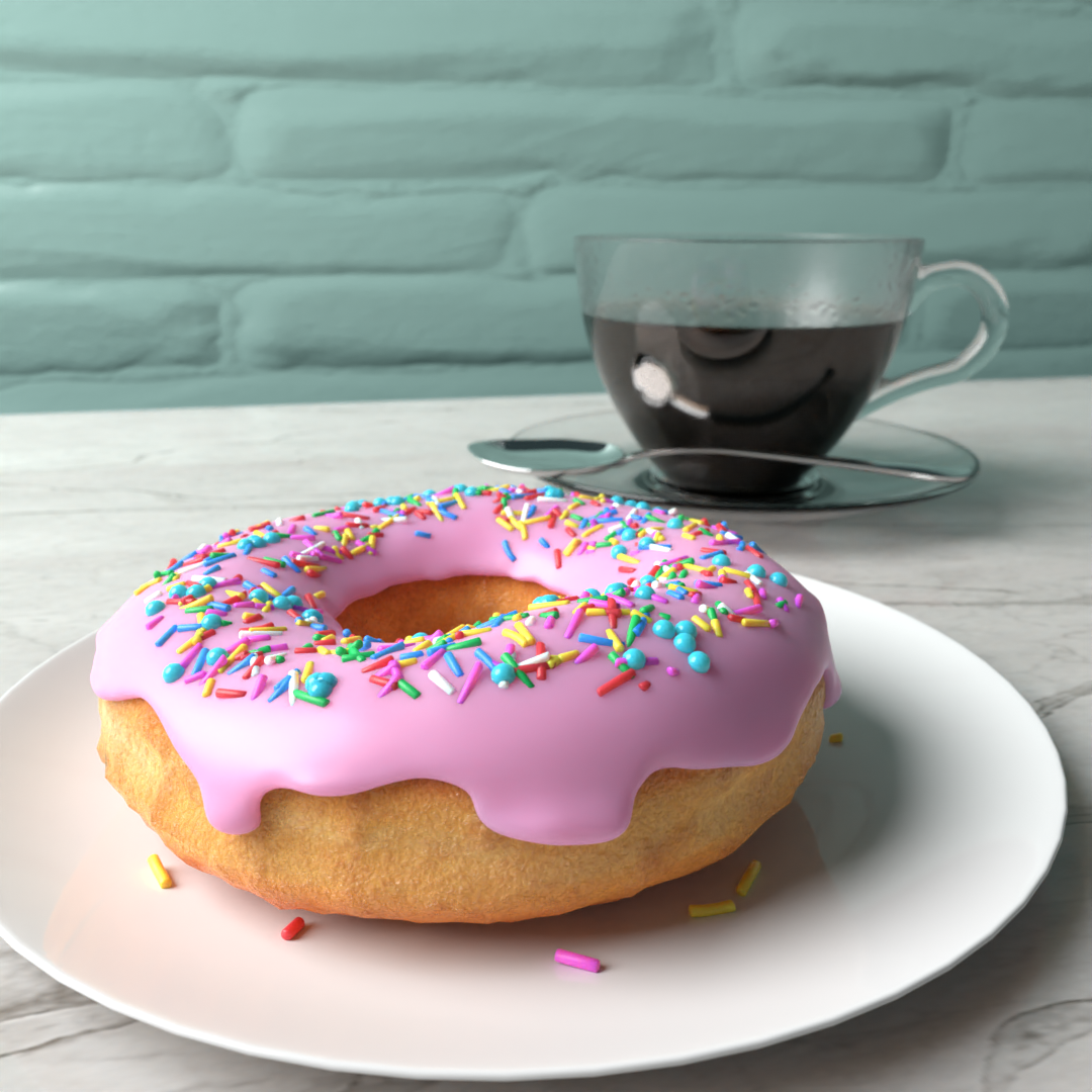 3D-rendered donut and glass mug of coffee
