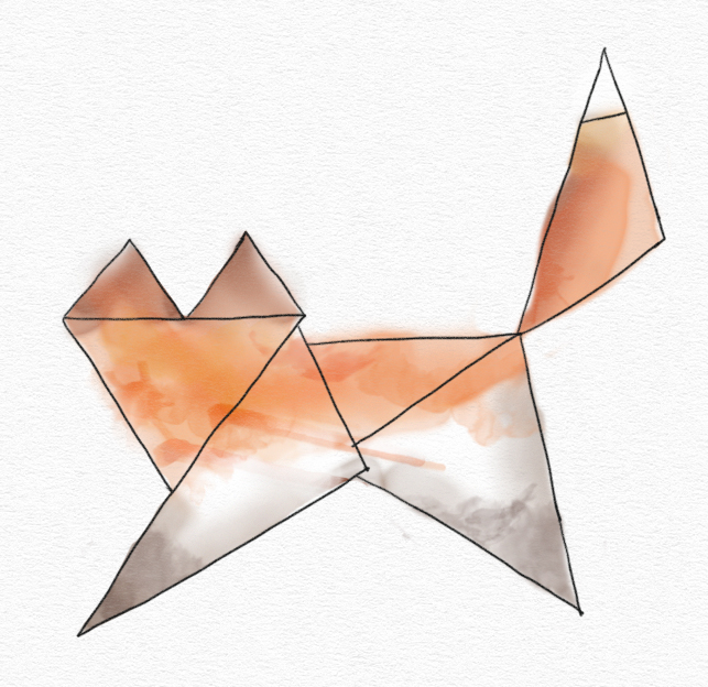 Drawing of a fox made up of triangles. The linework is narrow, black, and crisp, and the color looks like watercolor paint.