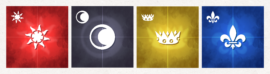Four piecepack tiles: the aces of suns (red), moons (black), crowns (yellow) and arms (blue). Each tile has a saturated, watercolor-like texture with a cross bisecting it, and the suit image in the center and top-left corner.