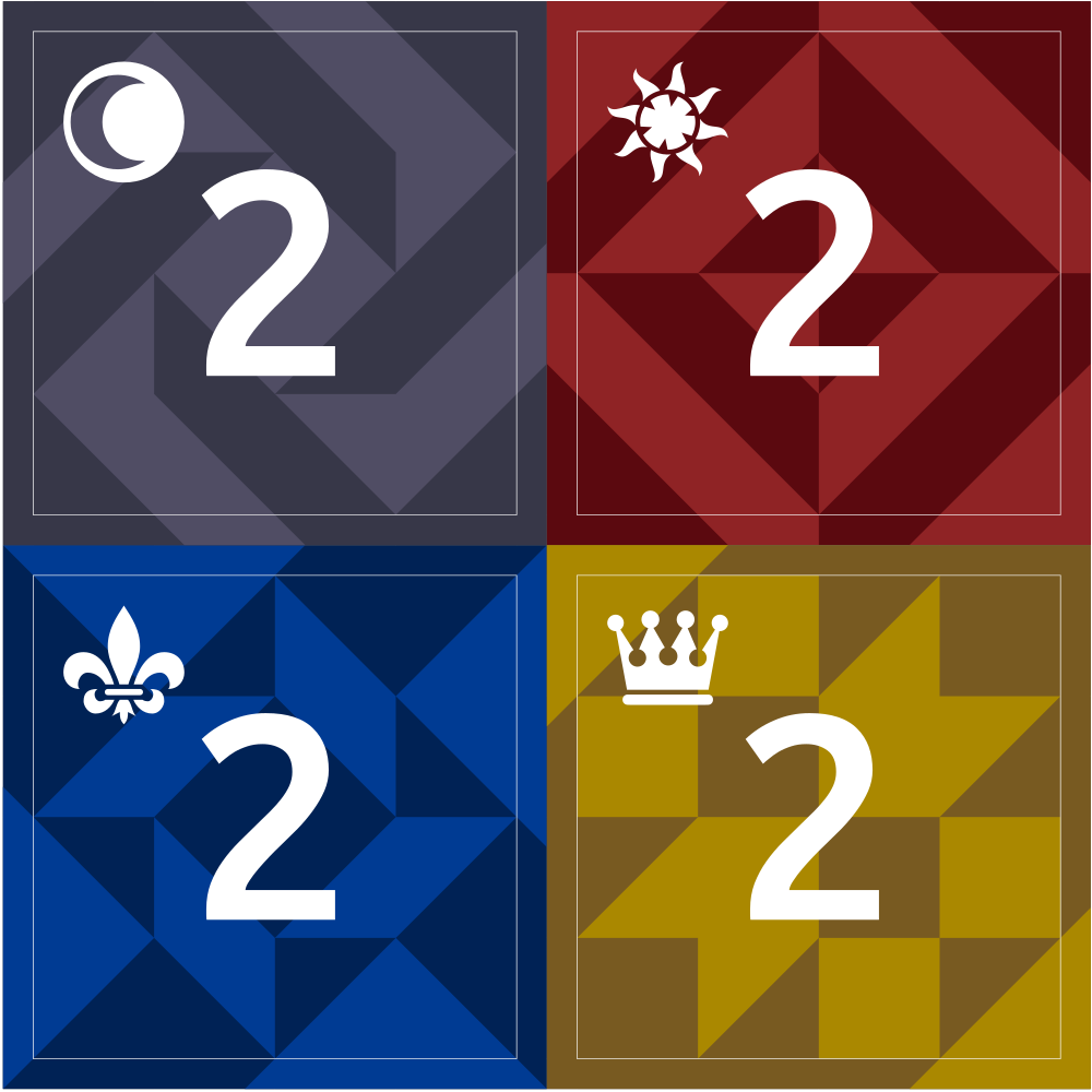 Four square tiles in the colors black, red, yellow, and blue. They each have the number 2 and an icon in the corner (moons, suns, crowns, and fleur de lys). The backgrounds are two-tone geometric designs reminiscent of quilt blocks.